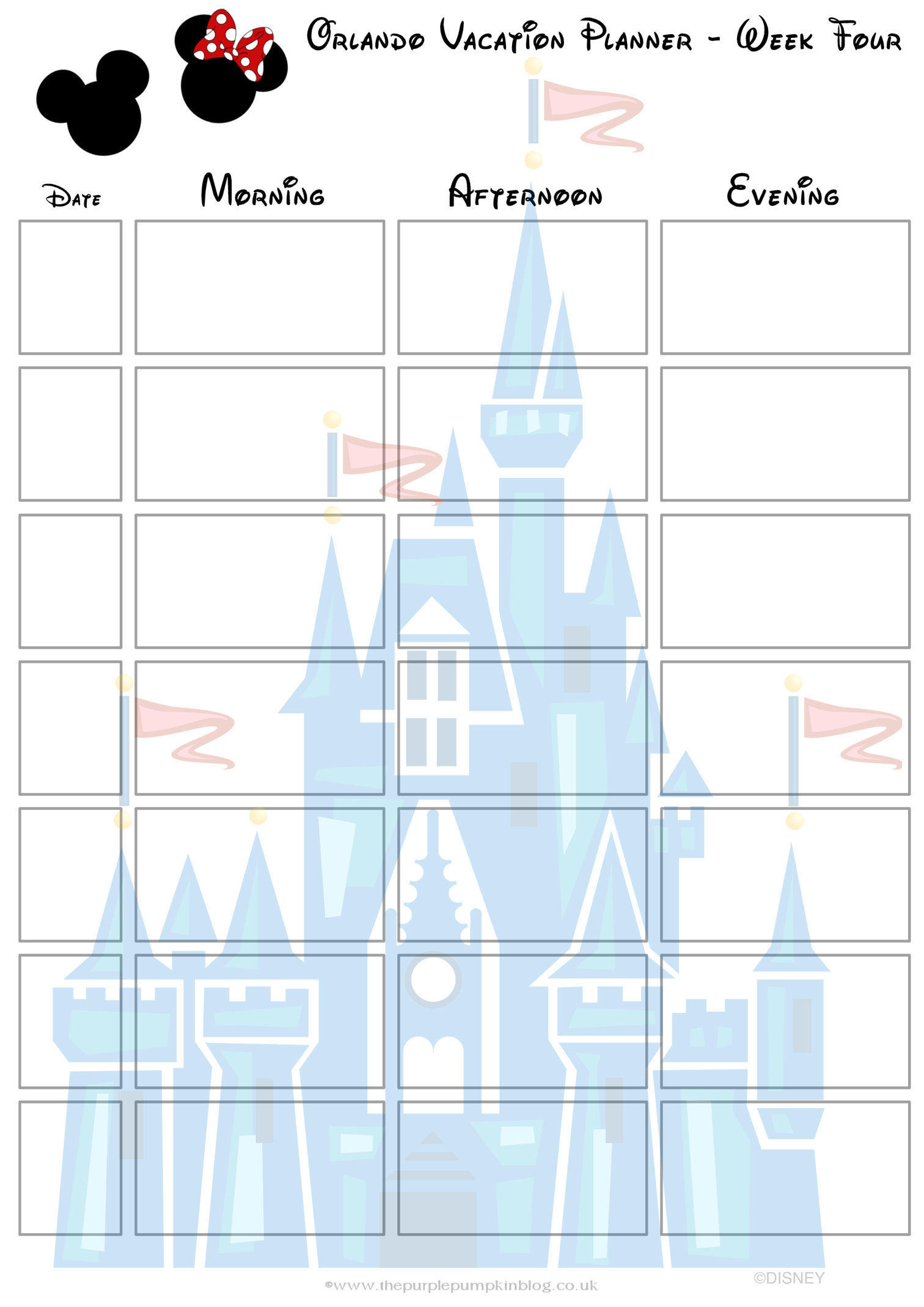 Orlando walt disney world vacation planner free printable for Trip calendar planner template