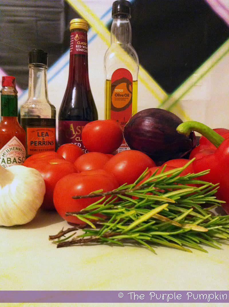 Ingredients for bloody mary soup