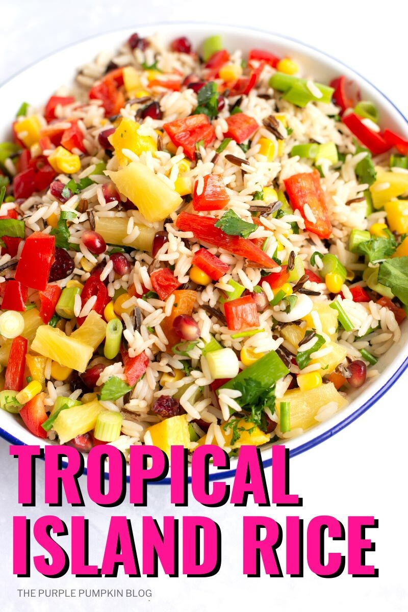A plate filled with Tropical Island Rice made with wild rice, fresh mango, pomegranate, macadamia nuts, chilies, and more. Photos of the recipe dish from various angles are used throughout and with different text overlay unless otherwise described.