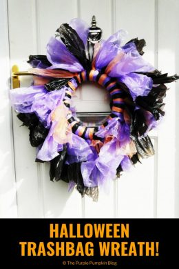 Halloween Trashbag Wreath / turn colored garbage bags into a wreath for Halloween!