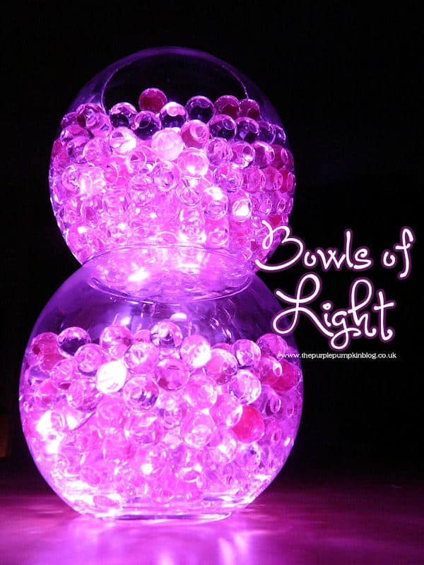 Bowls of Light - using aqua gel beads submersible LED lights. This is such a simple to do decoration, but the effects are awesome! Great for weddings, parties or just for the holidays. There are lots of different coloured beads and lights available, you could match them to your theme!
