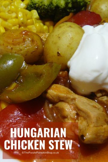 This Hungarian Chicken Stew is afamily favourite! Serve with a chunk of crusty bread for some real good comfort food on cold winter nights! #ChickenStew #HungarianRecipes #ComfortFood