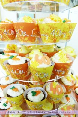 Orange & Yellow 40th Birthday Cupcakes