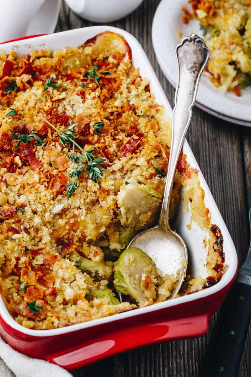 Brussels Sprouts, Bacon & Chestnut Gratin