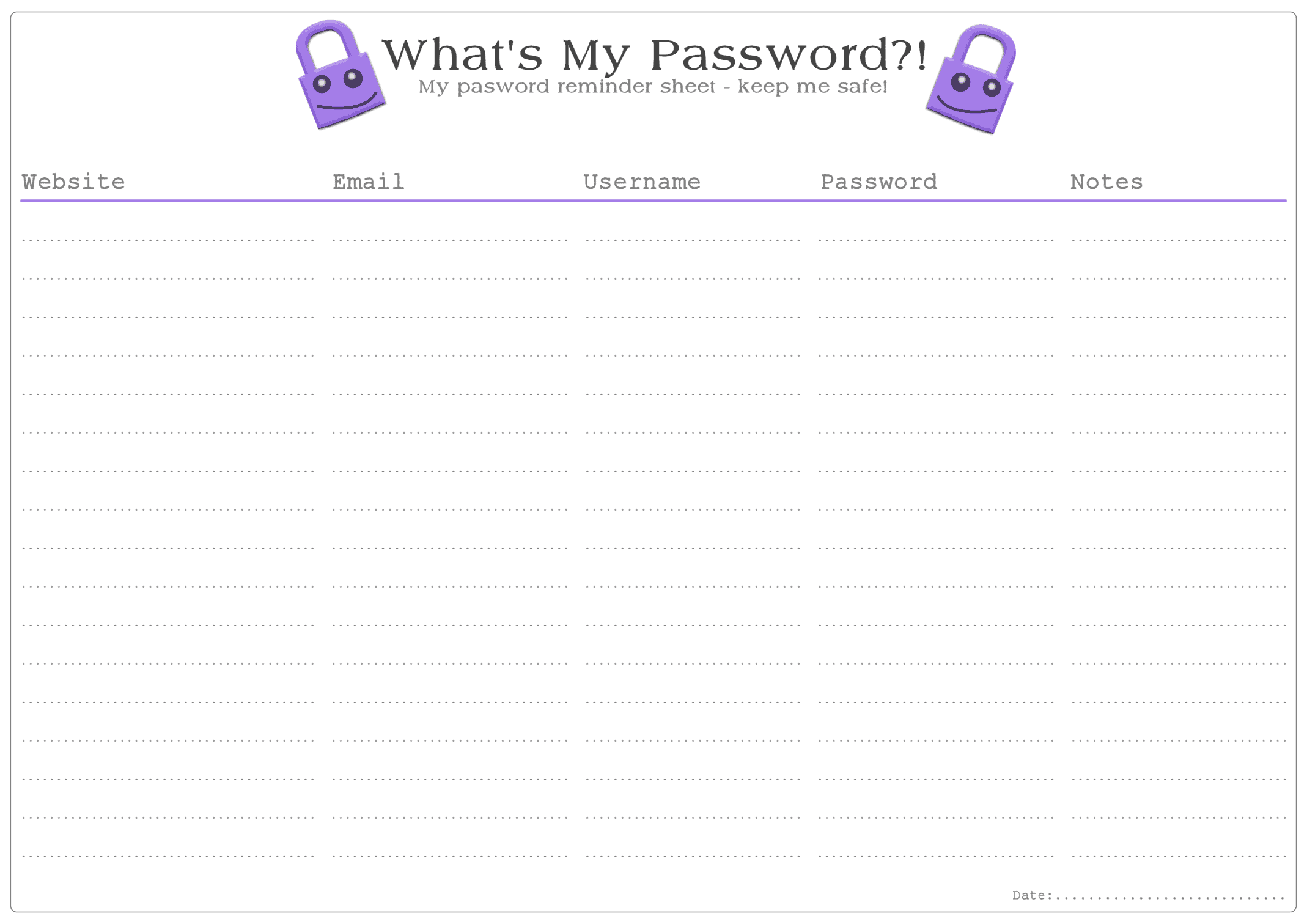 It's just a picture of Comprehensive Password Sheet Printable