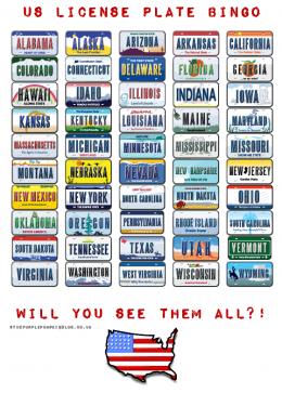 US License Plate Bingo