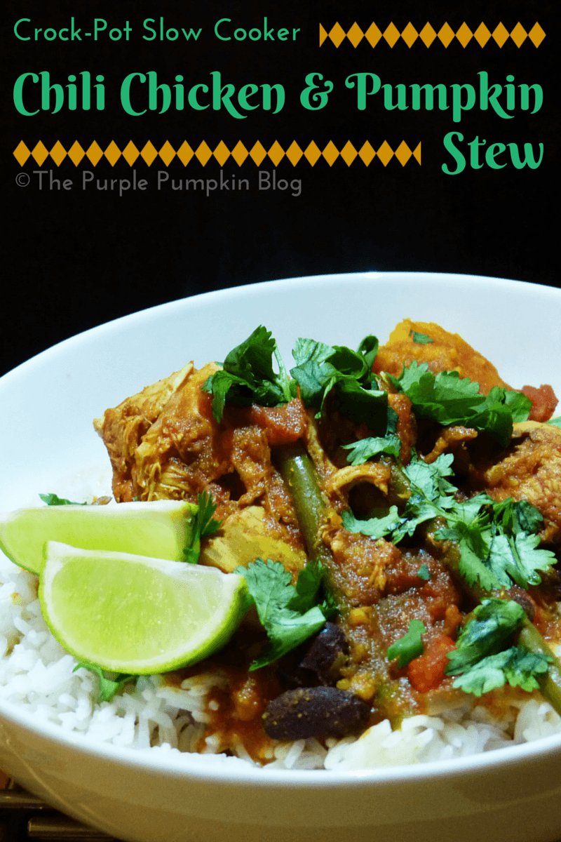 Crock-Pot Slow Cooker Chili Chicken & Pumpkin Stew #CraftyOctober