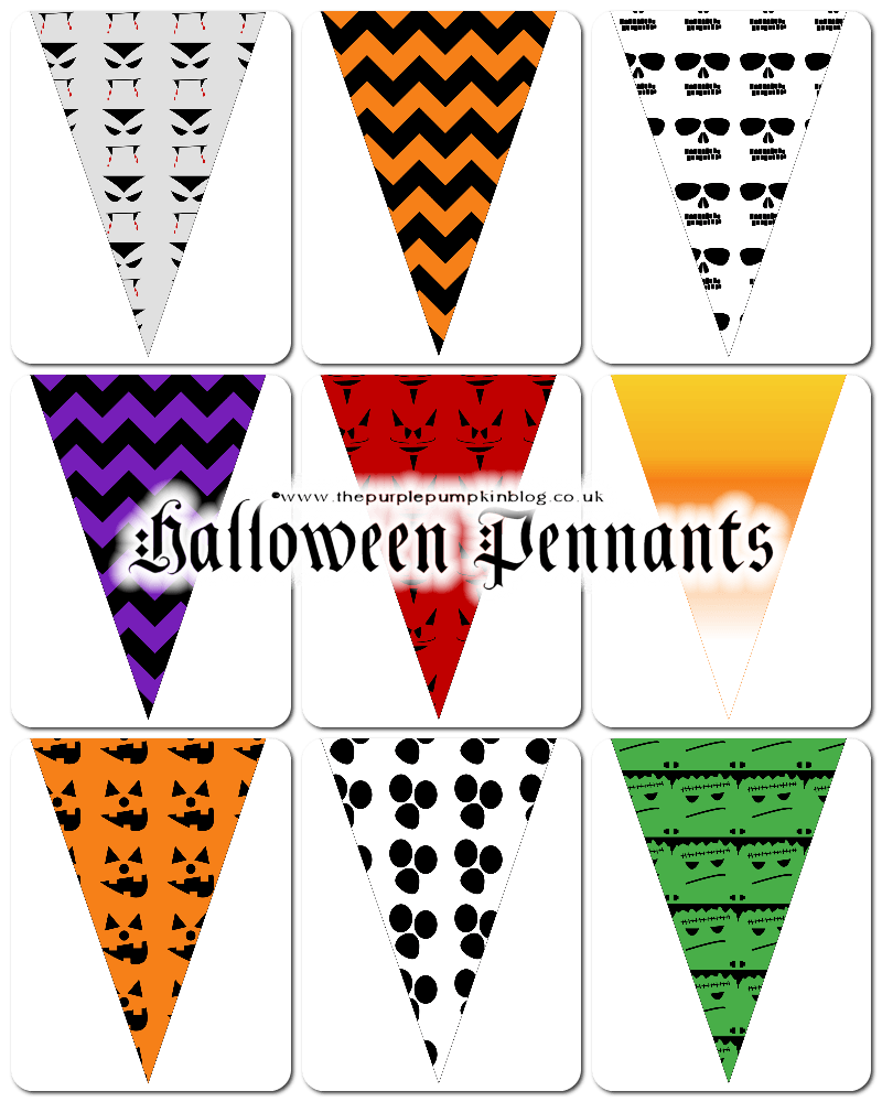 Halloween Pennants Free Printables - perfect for a frugal Halloween party because they're FREE to download + tons more Halloween printables!