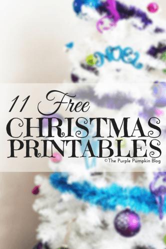 11 Free Christmas Printables on The Purple Pumpkin Blog