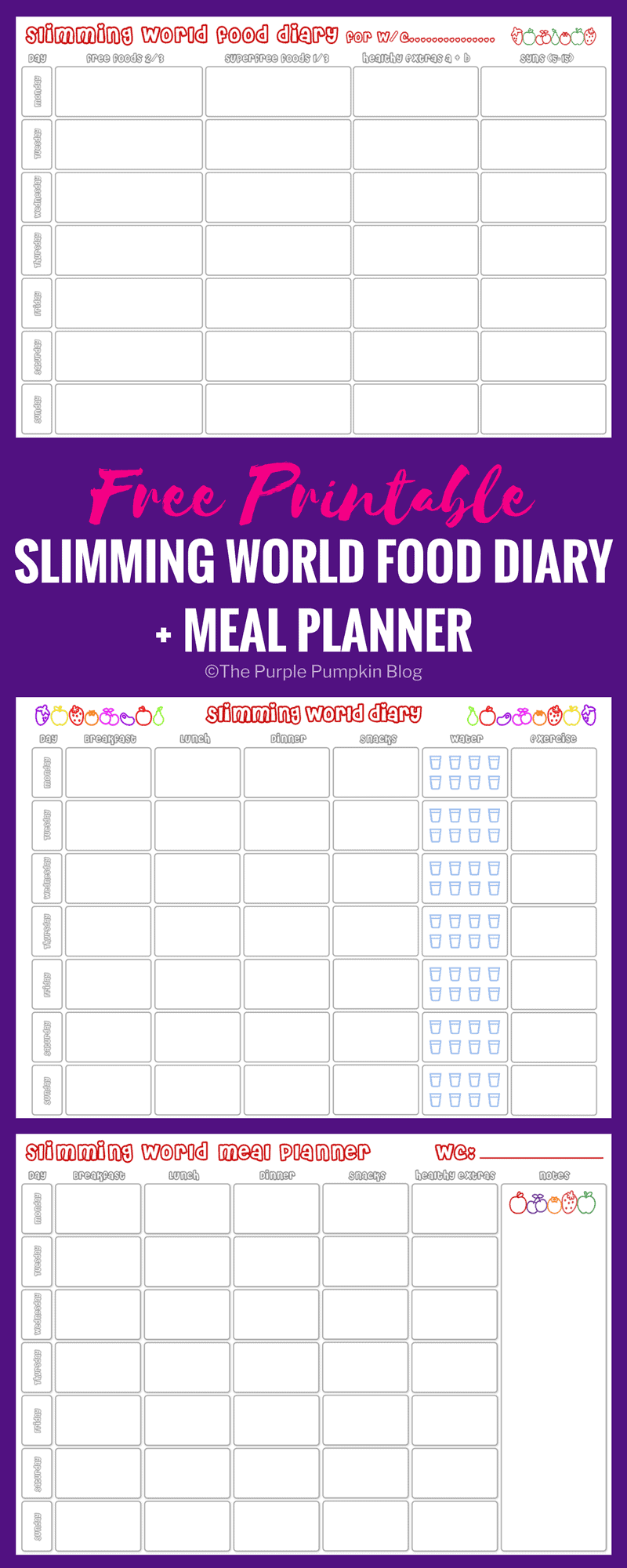 Slimming World Food Diary Printable Meal Planner