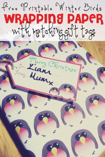 Free Printable Winter Birds Wrapping Paper and Gift Tags