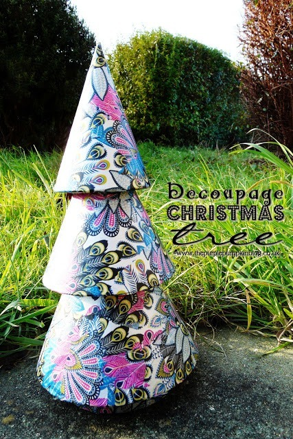 Mache Christmas Tree decorated with Decopatch