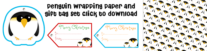 Penguin Free Printable Wrapping Paper and Gift Tag Set Free Printable Download