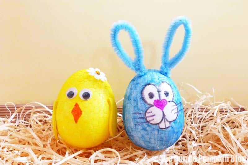 Make these fun Easter Egg Animals Craft (chick & bunny) using foam eggs, markers and other craft embellishments. An awesome Easter activity for kids! #EasterEggAnimals #EasterCrafts #KidsCrafts #ThePurplePumpkinBlog