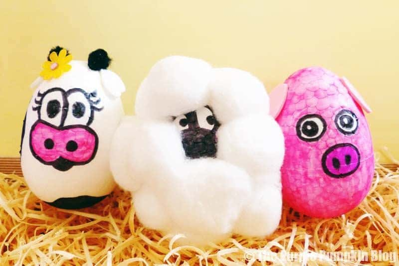 Easter Egg Animals Craft - Cow Sheep Pig
