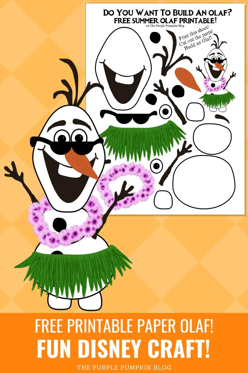 Free Printable Olaf - Fun Disney Craft!