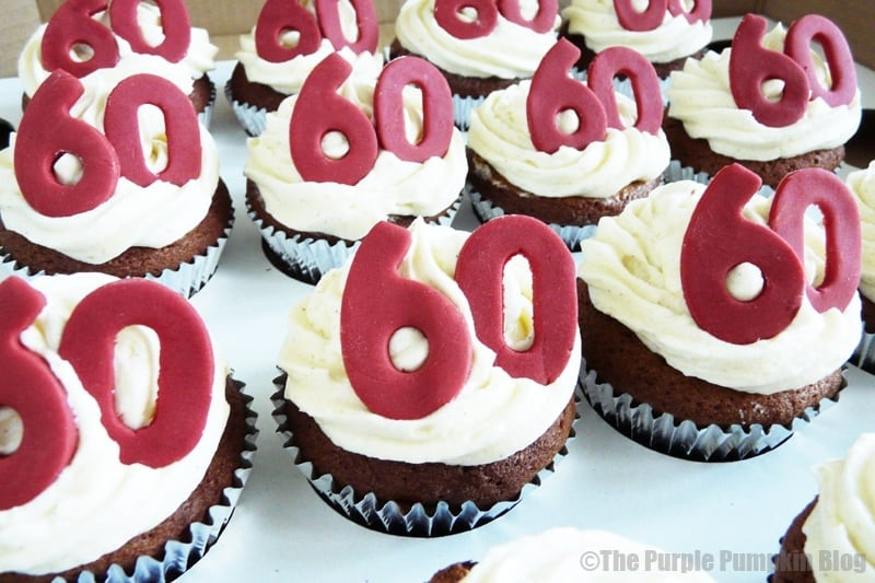 Cupcake Decorating Ideas For 60th Birthday : Red & White 60th Birthday Cupcakes   The Purple Pumpkin Blog