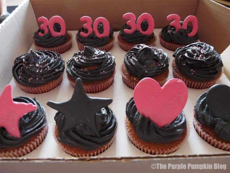 Pink and Black 30th Birthday Cupcakes