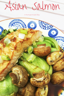 A delicious Asian salmon dish with bok choy / pak choi and mushrooms.