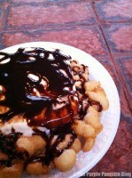 Disney Snacks - Funnel Cake with Ice-Cream and Chocolate Sauce