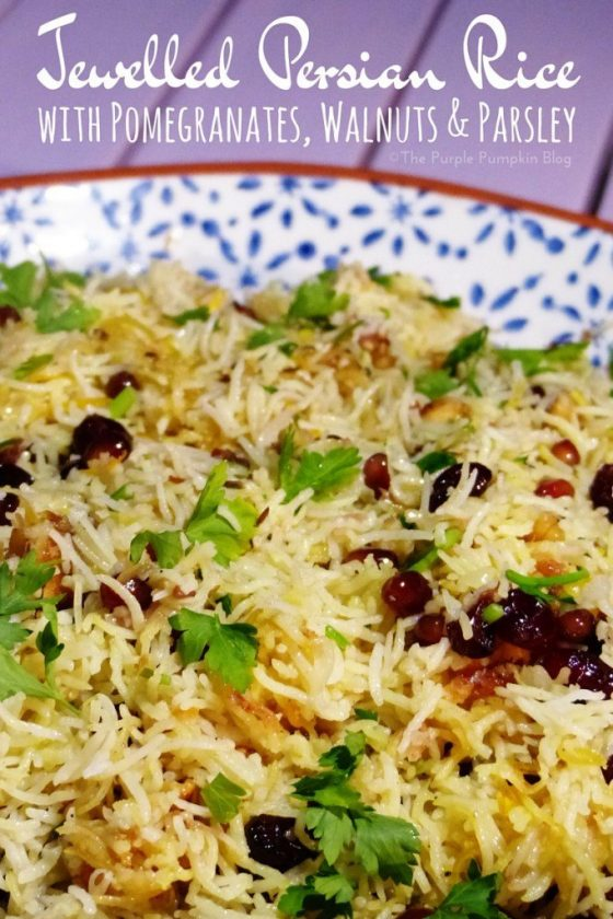 Jewelled Persian Rice with Pomegranates, Walnuts & Parsley