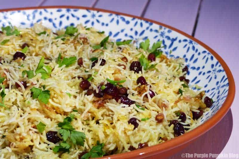 Jewelled Persian Rice with Pomegranates, Walnuts and Parsley