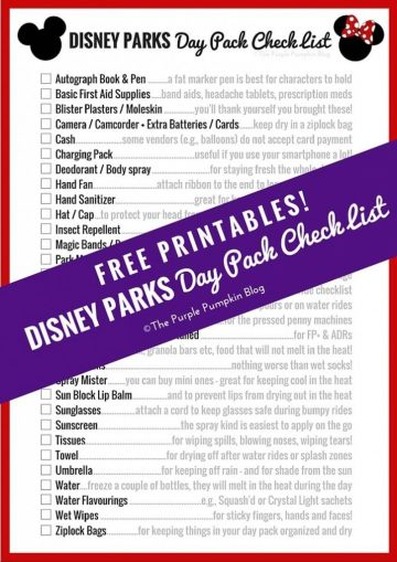 Disney Parks Day Pack Check List - Free Printables! This is perfect for making sure we have everything we need for a day at a Disney park!