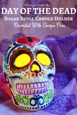 Day of the Dead Sugar Skull Candle Holder Decorated With Sharpie Pens