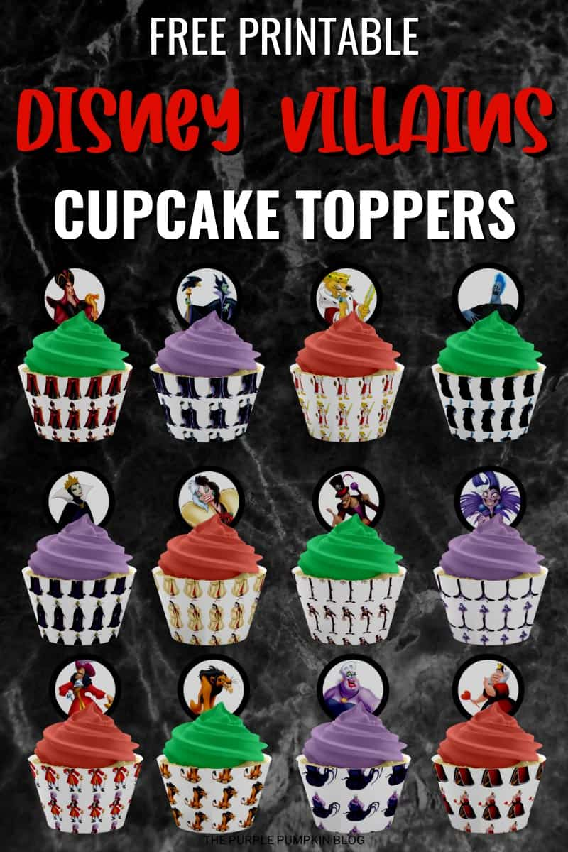 Disney Villains Cupcake Toppers - Free Printables