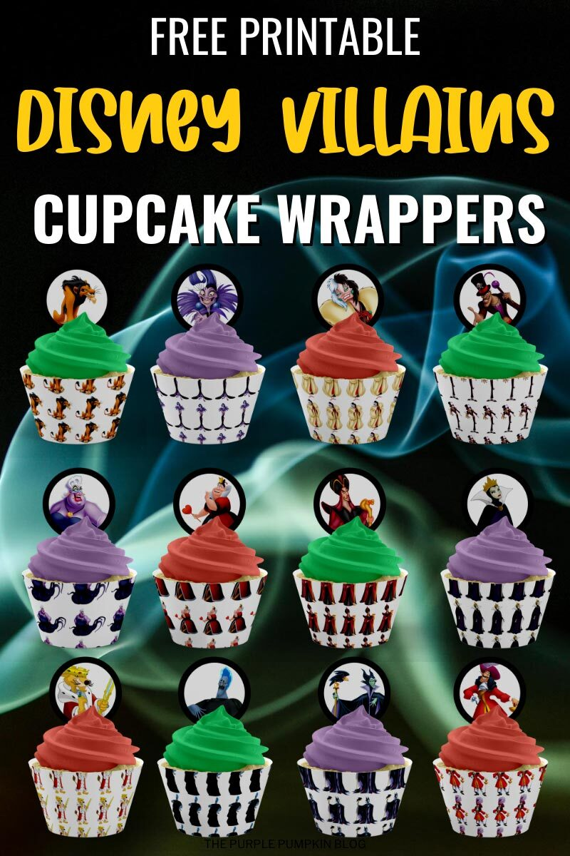 Free Disney Villains Cupcake Wrappers Printable