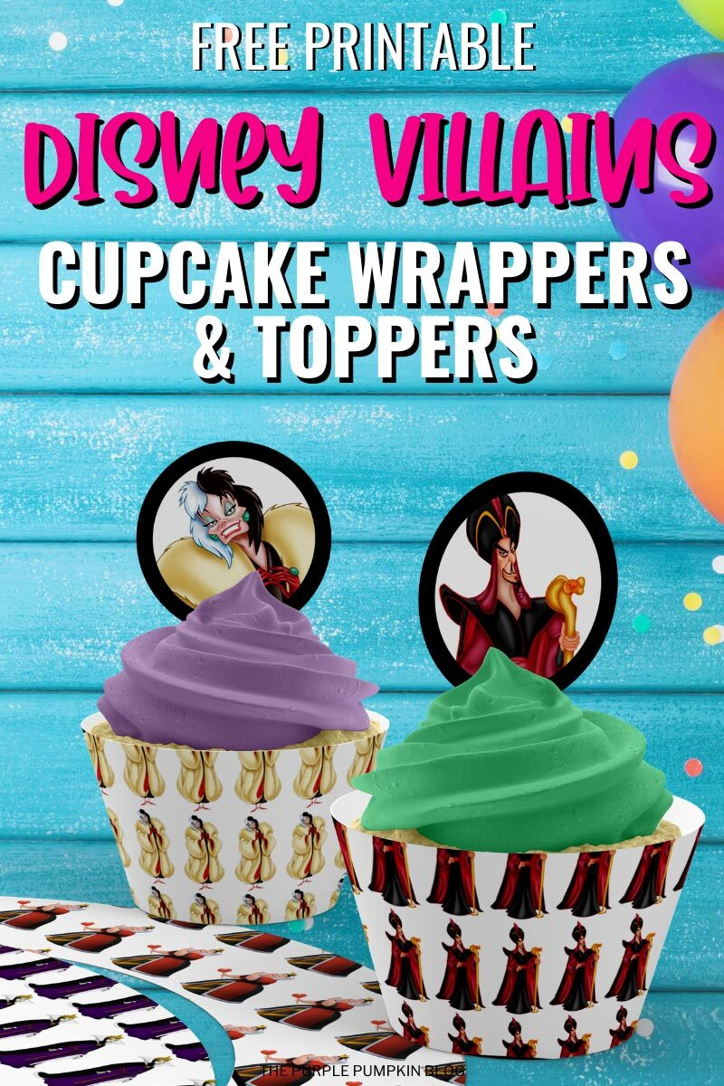 Free Printable Disney Villains Cupcake Wrappers & Toppers