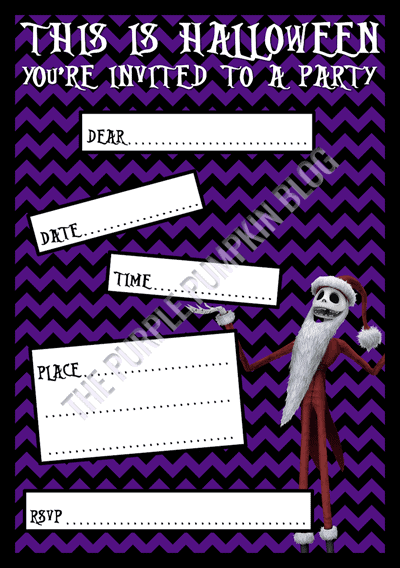 Halloween Party Invitations - Free Printable - The Nightmare Before Christmas - Jack Skellington Santa