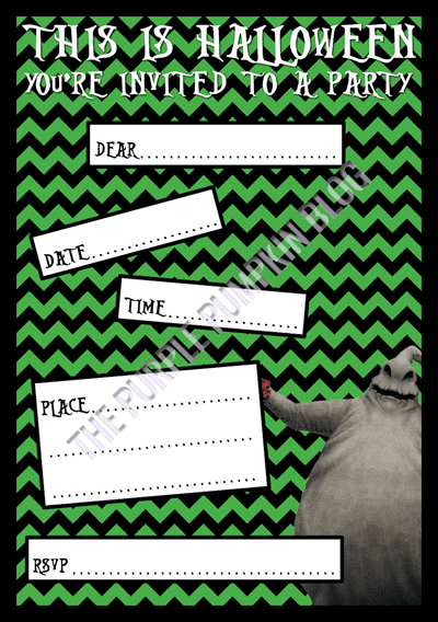 Halloween Party Invitations - Free Printable - The Nightmare Before Christmas - Oogie Boogie
