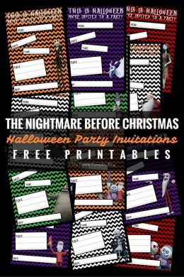 The Nightmare Before Christmas - Halloween Party Invitations - Free Printables. There are also loads of matching party printables that match these!