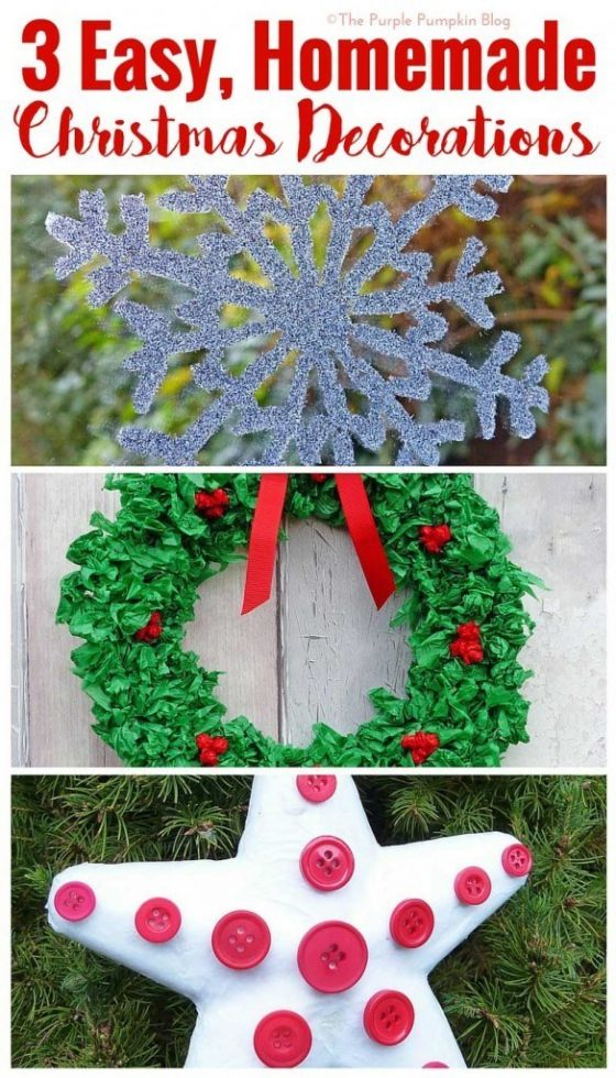 3 Easy, Homemade Christmas Decorations - simple crafts to make with the kids during the festive season!