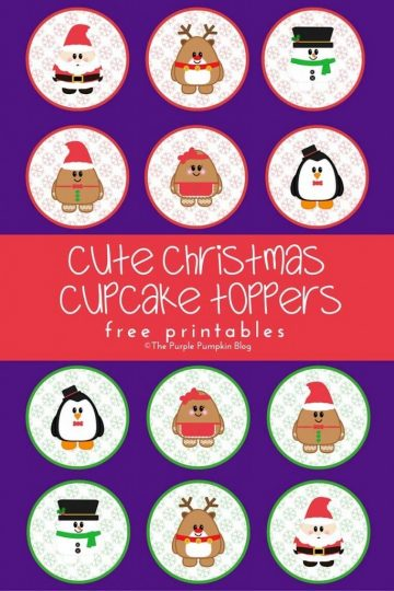 Cute Christmas Cupcake Toppers - Free Printables + tons more freebies too!