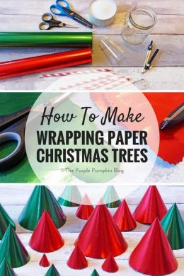 How To Make Wrapping Paper Christmas Trees! These are so easy and fun to make!