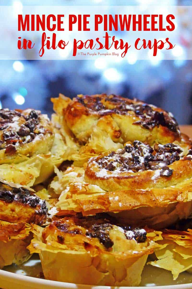 Mince Pie Pinwheels in Filo Pastry Cups - a twist on regular Christmas mince pies!