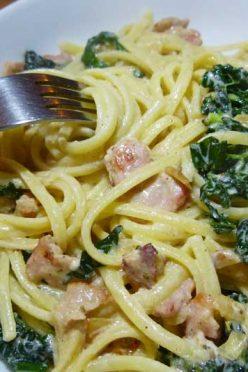 Creamy Linguine with Bacon and Cavolo Nero