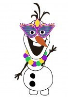 Do You Want To Build A Snowman - Free Olaf Printable - Mardi Gras Edition - Mask + Beads