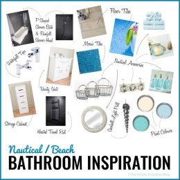 Nautical/Beach Bathroom Inspiration - this mood board is a good start for creating a sea side theme for your bathroom re-design.