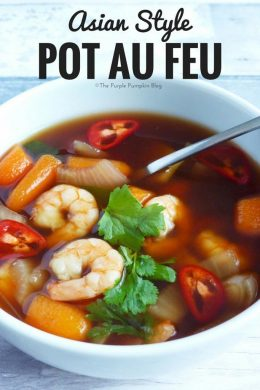 Asian Style Pot Au Feu - an Asian twist on the classic French dish - adding ginger and lemon grass for a fragrant broth, and adding prawns instead of beef. Serve with rice noodles and sprinkled with red chilli for a fiery kick.