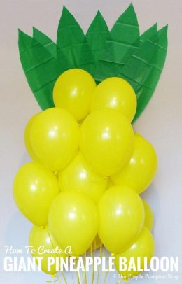 How to create a giant pineapple balloon. This would be so much fun for a tropical or Hawaiian party. You just need yellow balloons, green paper, yellow ribbon and a Balloon Time helium tank!