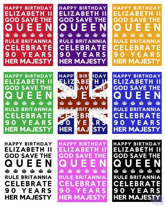 Queen's 90th Birthday Free Printable Subway Art Poster