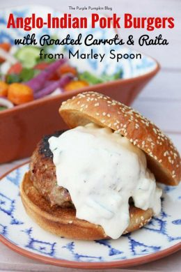 Anglo Indian Pork Burgers with Roasted Carrots and Raita