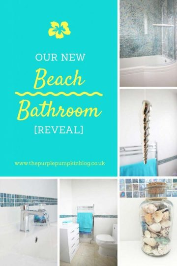 Beach Bathroom Reveal - with ideas and inspiration for creating a beach themed bathroom in your home. Includes day-by-day renovation photos, Bathroom Takeaway bathroom (Ad), mosaic tiles, beach themed accessories, and before and after photographs!