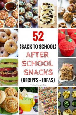 52 Back To School - After School Snacks - Recipe + Ideas. Never run out of ideas when the kids say they are hungry after school with this fantastic selection of recipes and ideas for after school (or any time!) snacks!