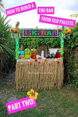 How to build a tiki bar from old pallets - this is perfect for a Hawaiian Luau or tropical party!