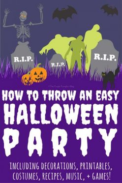 How to throw an easy Halloween Party! Including decorations, printables, costumes, recipes, music, + games!
