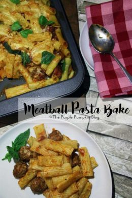A quick and easy meatball pasta bake. Great for mid-week family meals! This recipe uses a jar of tomato sauce, but you could always make your own if you have more time.